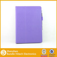 2014 stand fashion leather case for ipad air/5 with strap and touch pen