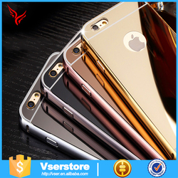 2015 New 24k Gold plated metal Aluminum Bumper phone case For iPhone 6plus makeup Case with lighted mirror