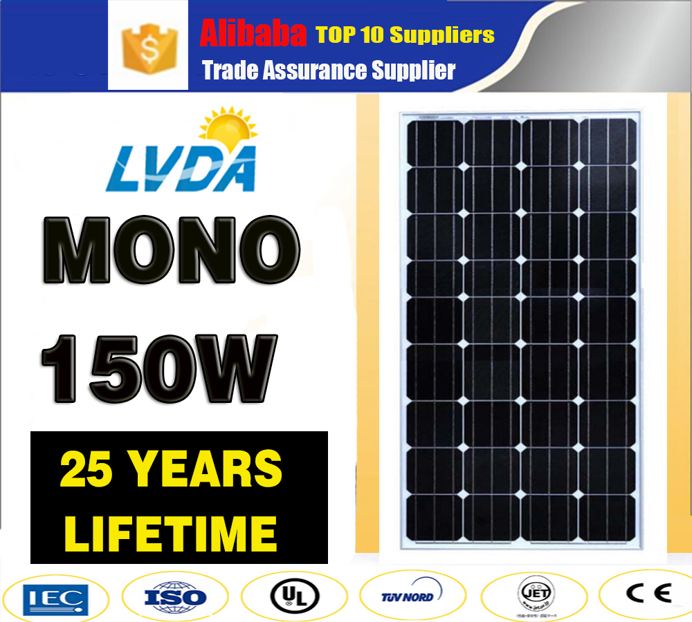 high efficiency 140w 150w 160w mono solar panel/ 36V Monocrystalline solar solar panel 150w