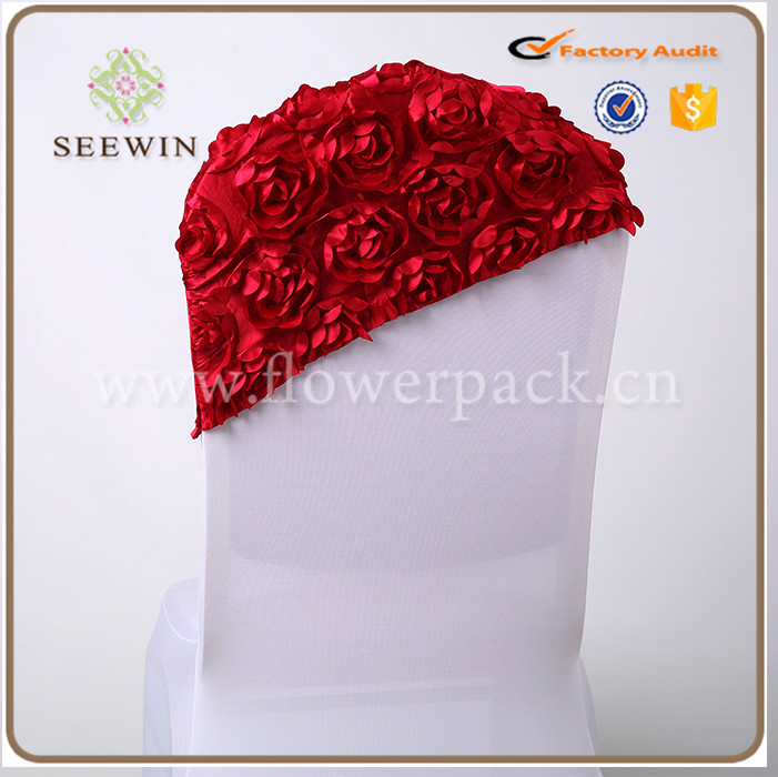 Fancy rosette satin chair head cover wedding banquet chair cover factory