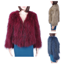 European Style Knitted Raccoon Fur coat/Colorful raccoon fur coat KZ150061