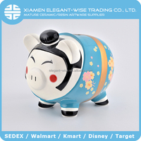 Cartoon pig ceramic paint diy money box,piggy bank,coin bank