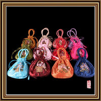 best quality embroider floral craft bag drawstring pouch with handle