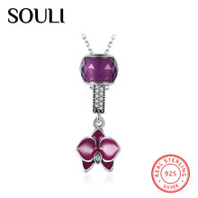 Handmade Jewelry 925 Sterling Silver Purple Flower Crystal Beads Necklace