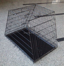 Sloping metal Sloping Folding Dog Crate pet cage with metal tray for car
