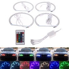 4X127mm RGB Car 33led SMD Halo Rings Angel Eyes LED Headlights for BMW E32.E34.E30.E39OEM