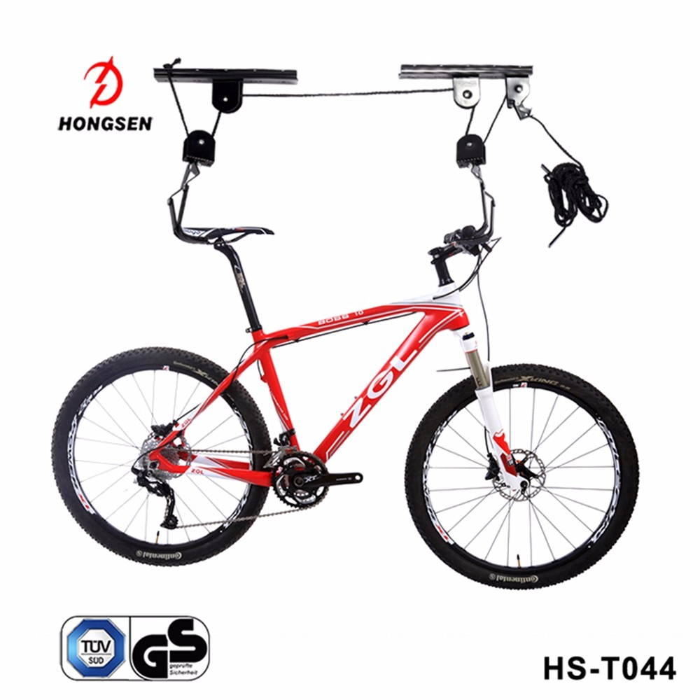 Bike Wall Mount Hook Pulley Bicycle Storage Hanger Roof Mounted Holder Garage