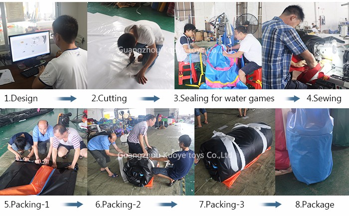 Factory price waterproof and fireproof inflatable mini water park course for sale