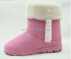 GCE409 faux suede with white fur snow boots child fur boot in wrestling shoes