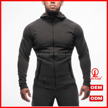 Wholesale apparel bodybuilding slim fit hoodies/winter two tone blank all cotton hoodies wholesale H-2177