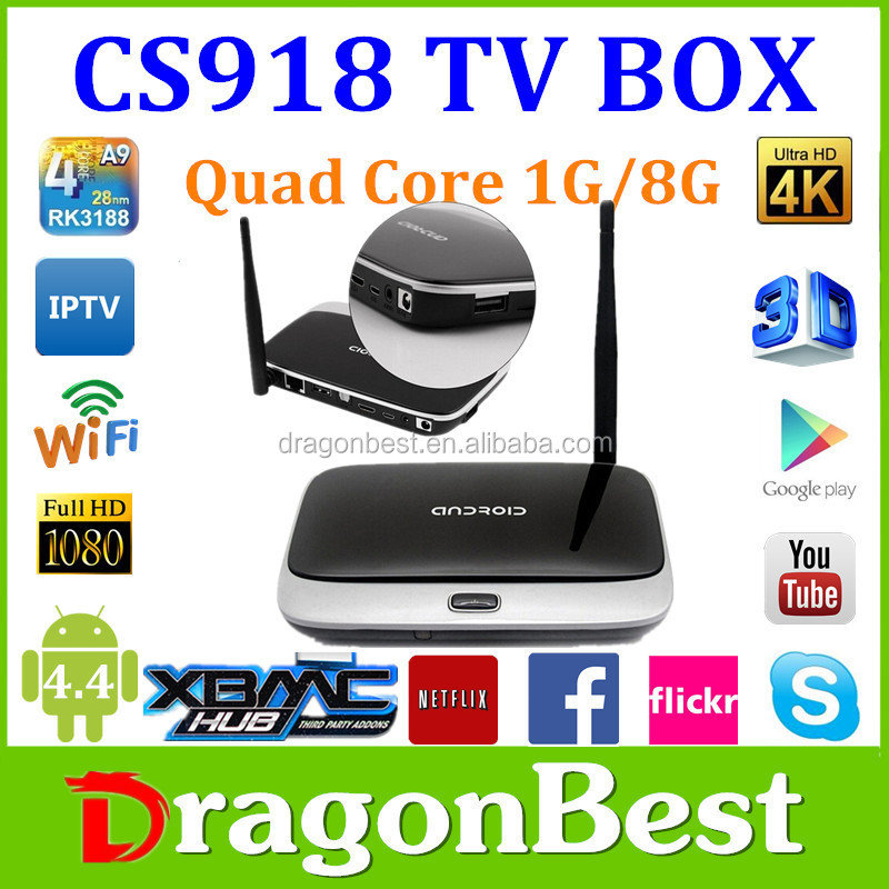 2015 Hot Selling Rk3188 Cs918 Android Smart Tv Box Quad Core 1.8Ghz Android Tv Box Quad Core 1080P Media Player 2Gb/8Gb Iptv Box
