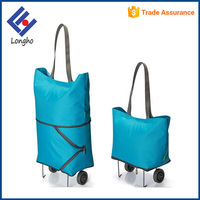 Two way foldable trolley shopping bag & travel handbag, folding shopping trolley bag with 2 wheels