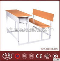 HuaDu Modern Combo School Desk and Chair Metal and Wood Cheap Comfortable School Furniture