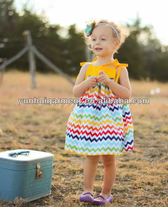 China made baby girl Wholesale off shoulder chevron dress with free handband for promotion