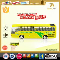 New arrival kids toys mini bus price 1 70 yellow lighting bus for sale