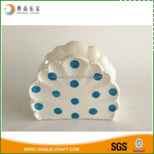 Wholesale white ceramic lace napkin holder with blue spotted pattern