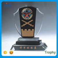 high quality custom black crystal trophy with decoration wording