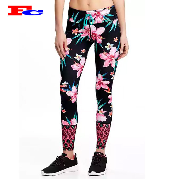 Hot selling pattern leggings fitness fast dry sports tights for women yoga pants wholesale