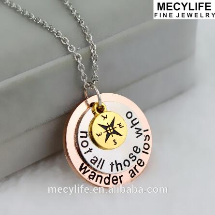 MECYLIFE Newest Stainless Steel Three Labels Three Tones Compass Necklaces