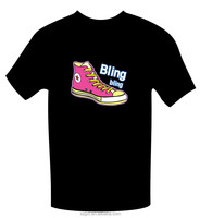 Bling bling shoes desging el lighting sound actived t-shirt and inverter and high brightness