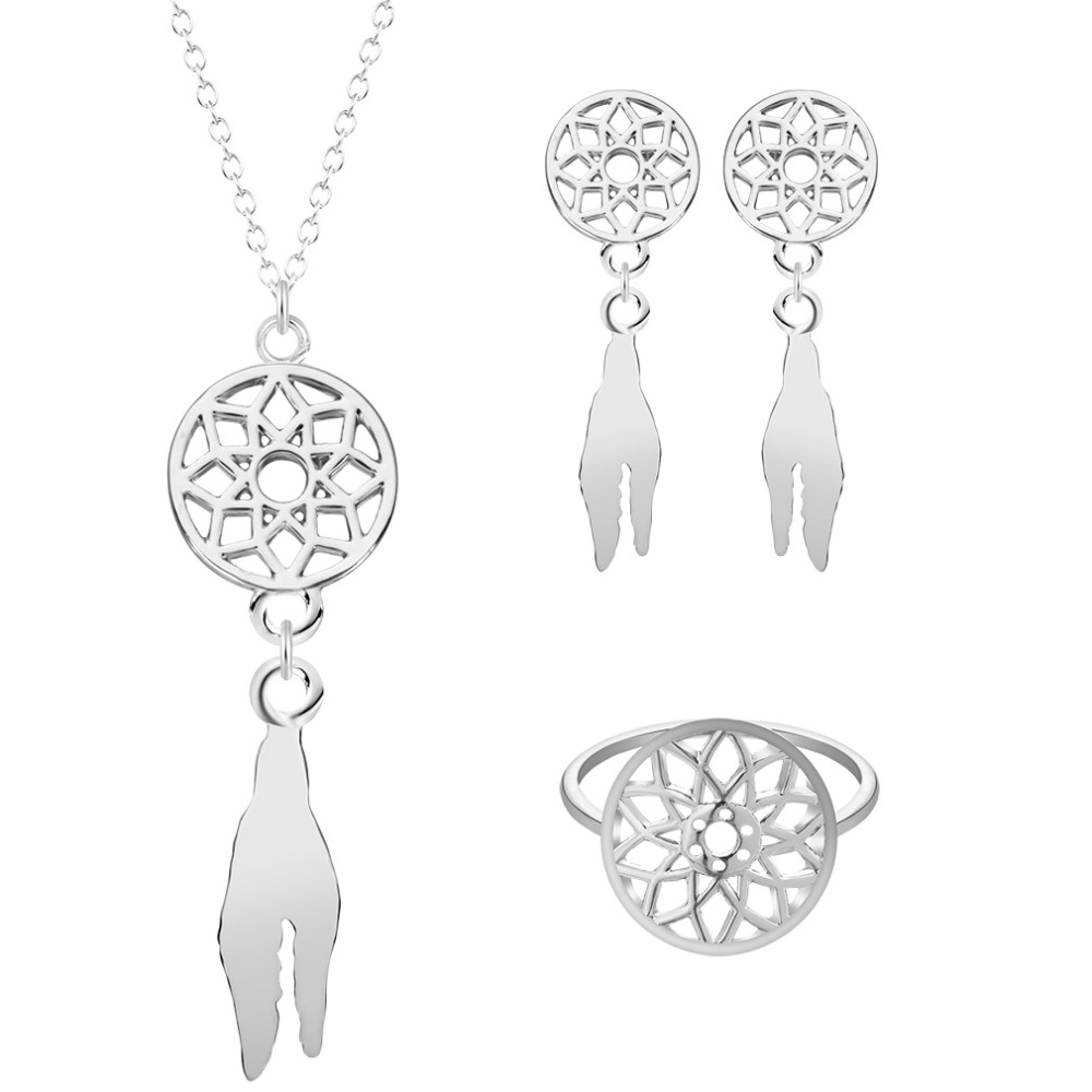 Classic Design Dream Catcher Shape NecklacePendant With Earrings and Ring Women Bohemian Jewelry Sets Gold Plated Gift