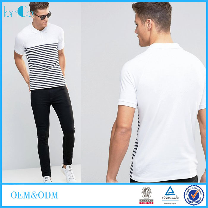 Muscle Polo Shirt With Breton Stripe In White/Navy Embroidered Polo Shirts Logo LC7256-G