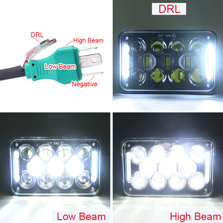"Patented 60W 5 inch 5"" offroad led projector headlamp high low beam 5inch square 4x6 led headlights for truck"