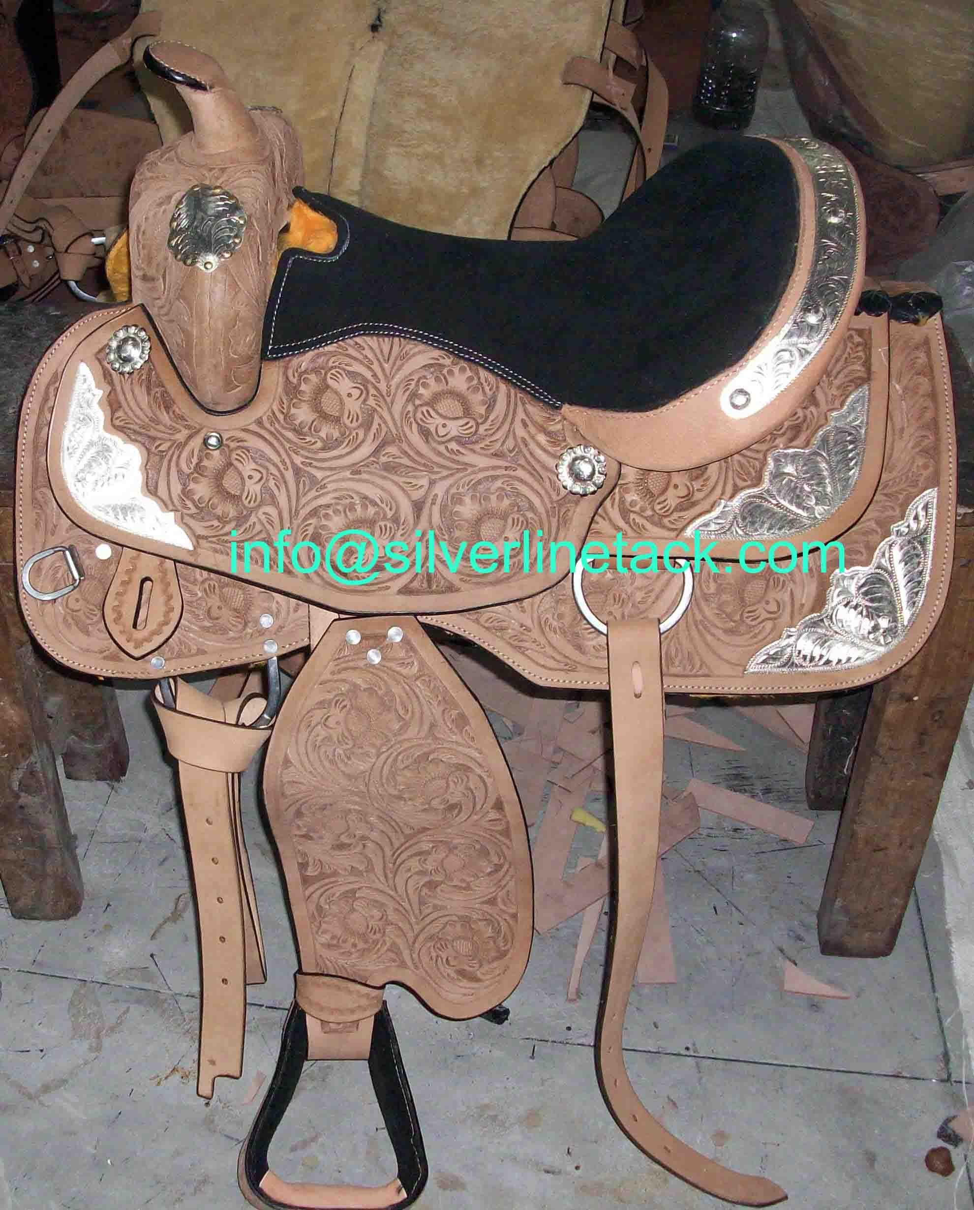 Western Saddle Hand Carved With Silver Trims