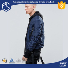 Factory OEM High Quality navy blue zipper front ribing hem and cuff men fashion jacket motorcycle