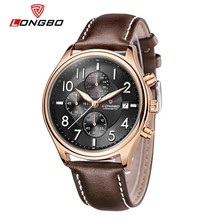 New 2017 Popular Men Top 10 Wrist Watch Brands LongBo Chronograph Gold Luxury Case Real Leather Saat