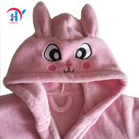Girls Pink Robe, Kids Plush Hooded Fleece Bathrobe