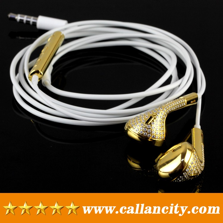 Aluminum material custom in ear headphones mirror 24kt gold diamond wired earphone