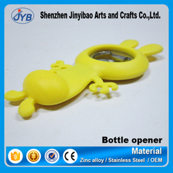 July popular bottle opener tools wholesale custom silicone rabbit shape yellow beer opener