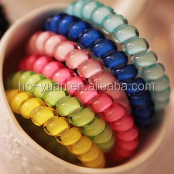 High Quality Light Color Elastic Traceless Telephone Wire Hair Ring