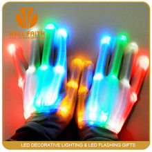 China Wholesales Party Lighted Up Gloves,Magic Show Rave Flashing Rainbow Gloves,Glowing LED Gloves For Halloween Holidays
