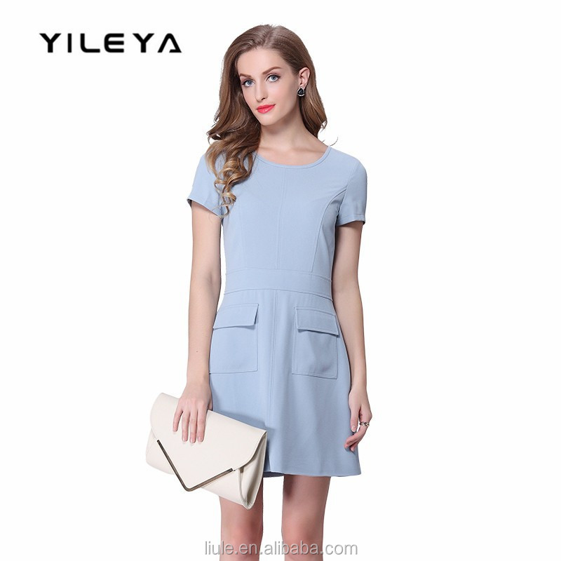 daywear casual plain woman hot korean dress with front pockets
