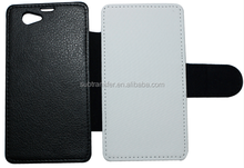 Manufacturer Sell Blank Sublimation leather flip wallet cellphone cases for Sony Z1 mini