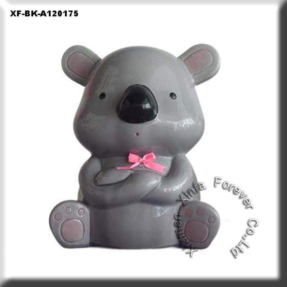 unique unglazed hobby ceramics bear coin box