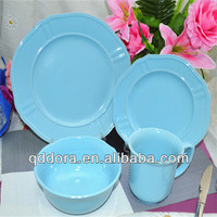 factory directly supply color glazed stoneware dinnerware/16pcs ceramic stoneware embossed dinner set