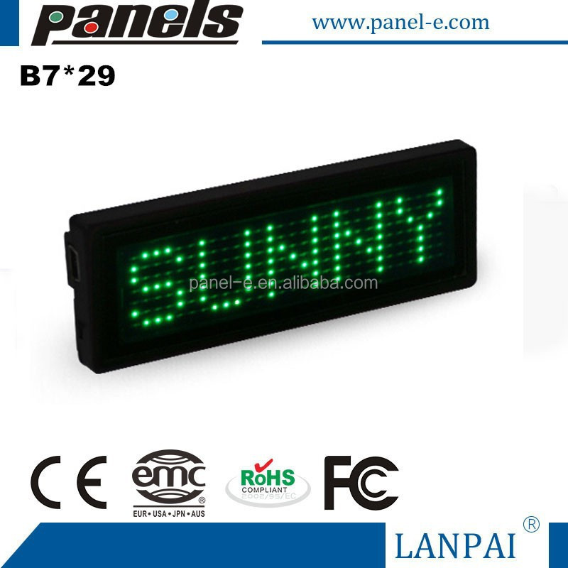 Green Scrolling SMD Dot Matrix LED Name Badge