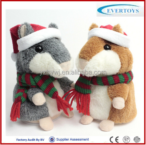 talking hamster plush toy hamster/christmas animated electronic plush
