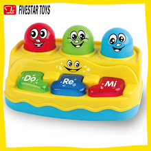 BO plastic carton piano musical keyboard flashing toy baby educational press mole game toys