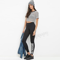 S62774A Hot Sale Cheapest Fahion Letter Print Work Out Women Leggings