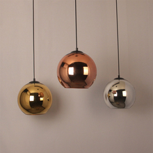 Restaurant round gold modern hanging lamps chandeliers hotel hand blown glass copper pendant light