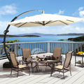 Movable Outdoor Umbrella Big Bend Parasol with Wheels 350*350cm Garden Umbrella with Plastic Base