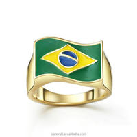 2016 Brazil Rio Olympic Games gift 14k gold plated ring jewelry with flag style