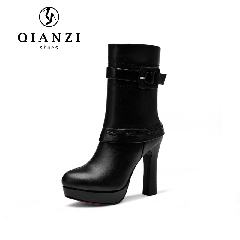 8109 Low MOQ quality first block heel black ankle mid calf boots for women