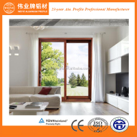 Wood grain aluminium profile sliding window door frame section