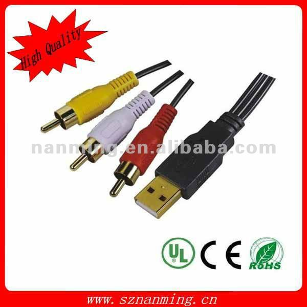 femal usb to 3 RCA cable