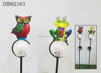 New design metal garden stake with glass ball and solar led light